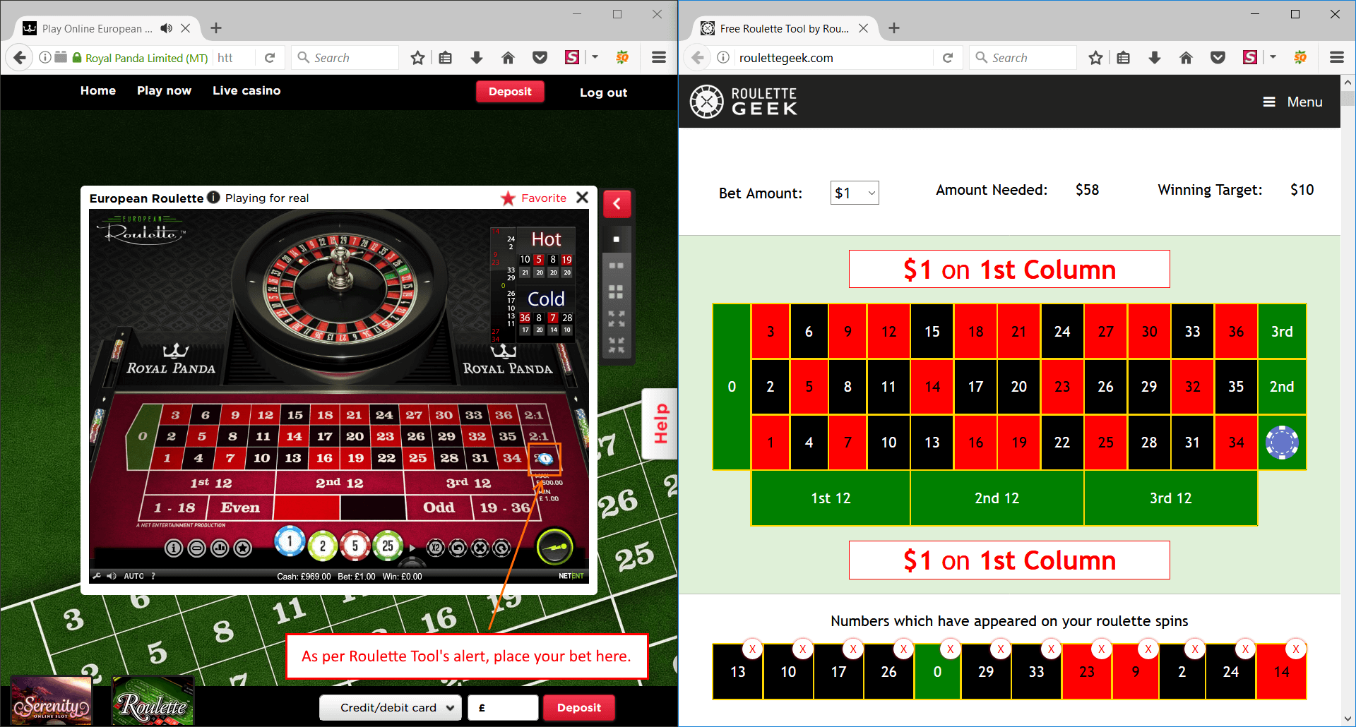 Online roulette with quick spin